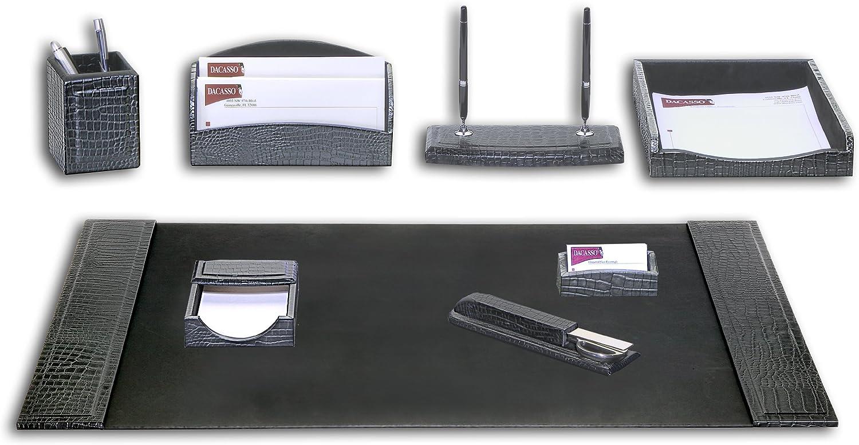Dacasso Crocodile Embossed Leather Desk Set, 8pcs, Black