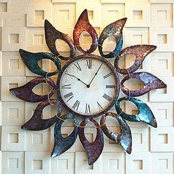 Wazy Horloge Murale Européenne Créative Fleur De Soleil En Fer Forgé