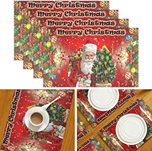 "Wamika Merry Christmas Placemats Xmas Tree Santa Table Mats Washable Winter Snowflakes Placemat Non-Slip Heat Resistant Place Mats for Party Kitchen Dining Table Decorations 12"" X 18"" Set of 4"