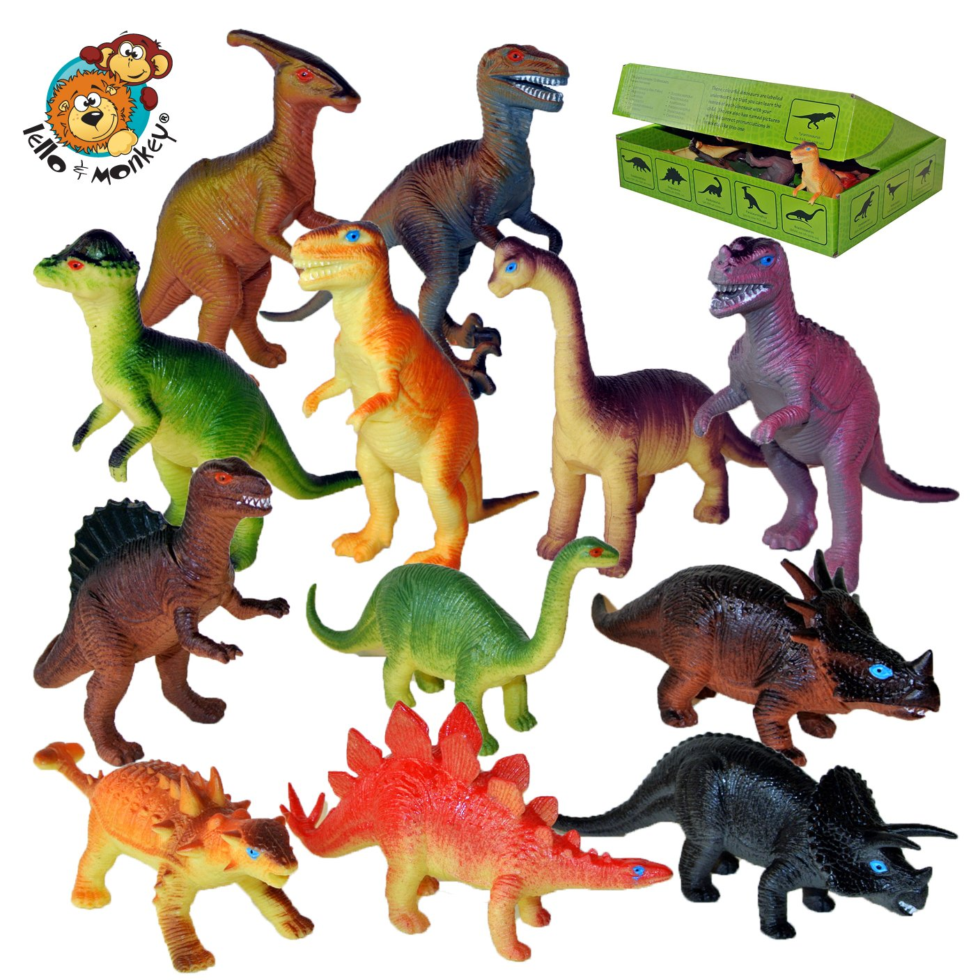 Dinosaur toy plastic figures set of 12 set with names and