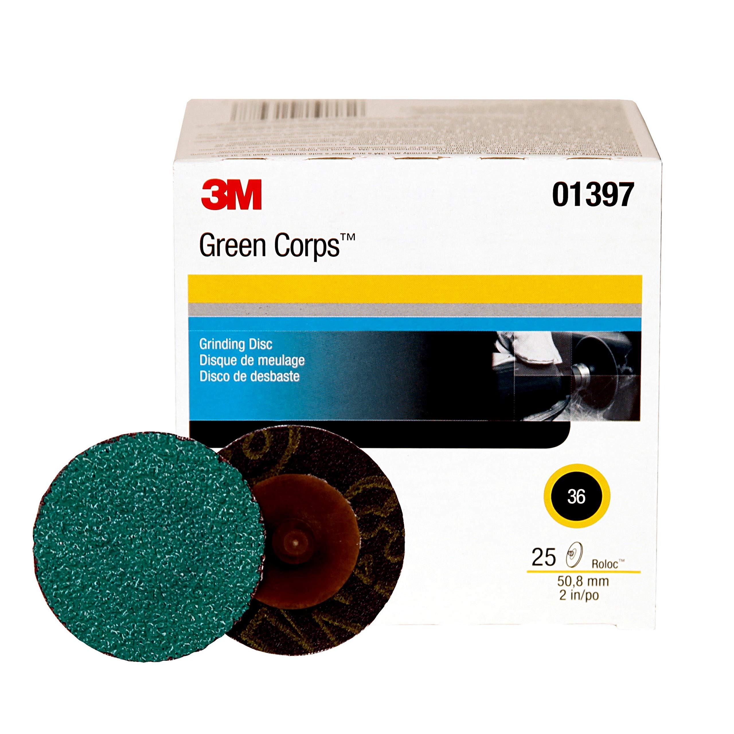3M Green Corps Roloc Disc, 01397, 36YF, 2 in, 25 discs per pack
