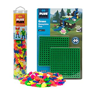 Plus-Plus - Baseplate Duo & 240 Piece Neon Tube Set - Construction Building STEM Toy, Interlocking Mini Puzzle Blocks for Kids