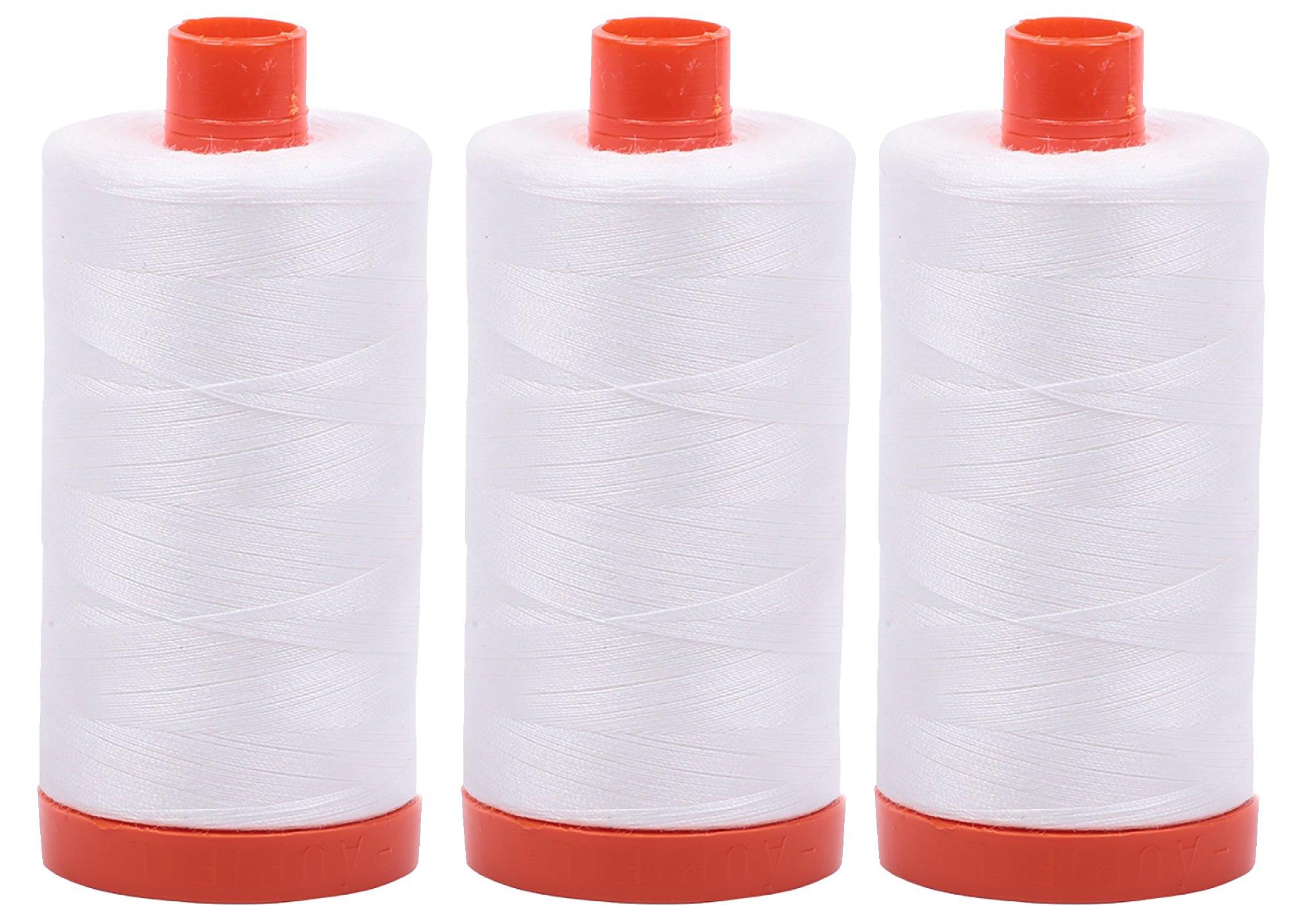 3-PACK - Aurifil 50WT - Natural White, Solid - Mako Cotton Thread - 1422Yds EACH - MK50-2021 by Aurifil