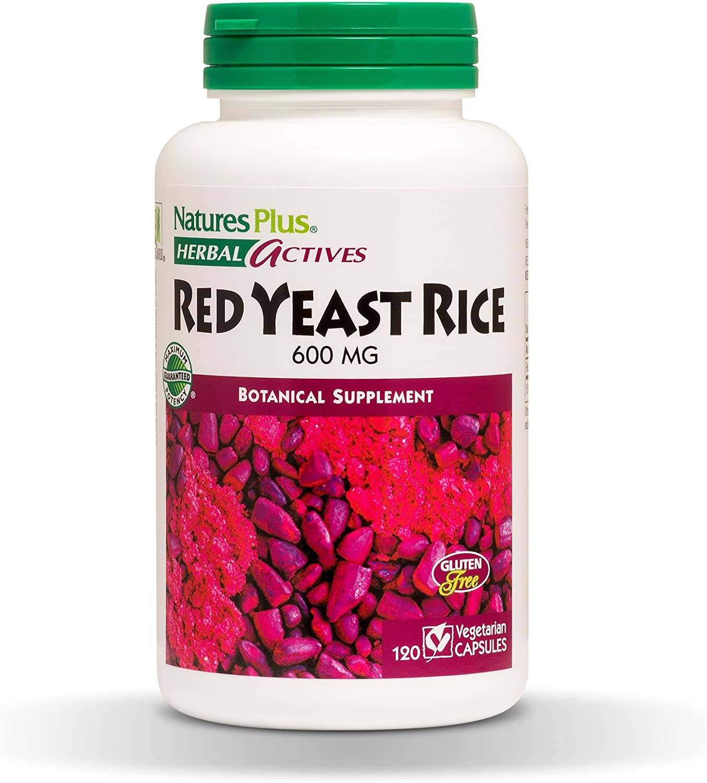 NaturesPlus Herbal Actives Red Yeast Rice - 600 mg, 120 Vegan Capsules - Maximum Potency Herbal Supplement, Cholesterol Support - Vegetarian, Gluten-Free - 120 Servings: Health & Personal Care