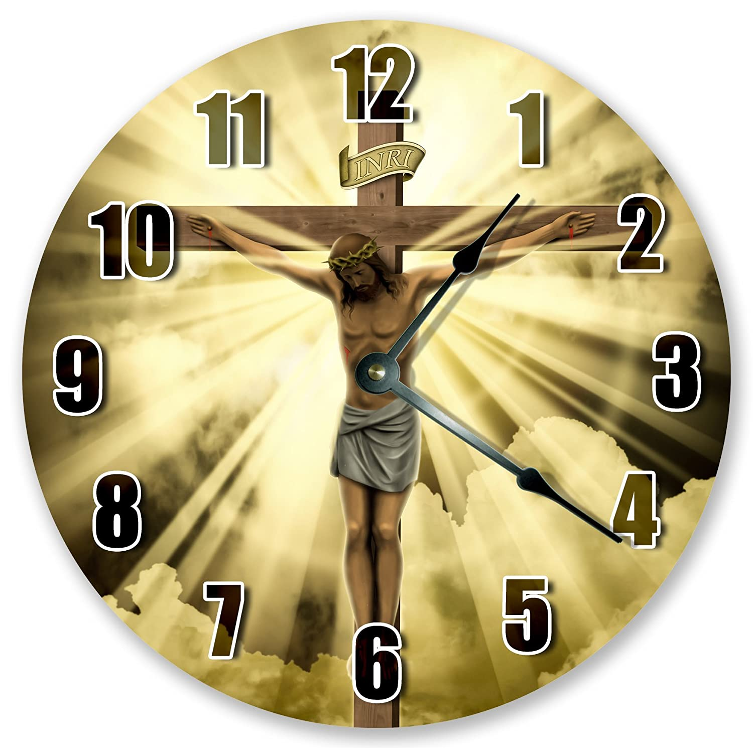 """10.5"""" JESUS AT THE CROSS CLOCK - Large 10.5"""" Wall Clock - Home Décor Clock"""