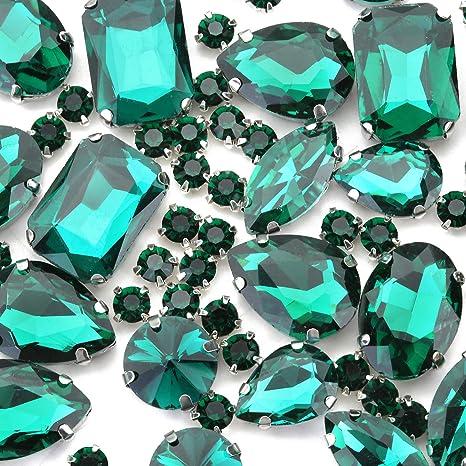 100 Non-Hotfix Flat back Crystal Diamanté Rhinestones 3 Emerald Green 4 /& 5mm