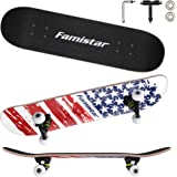 9 Layers Maple Wooden 31''x7.8'' Complete Skateboards - Max. Support 330lbs Standard Skateboards, Double Kick Concave Deck Sk