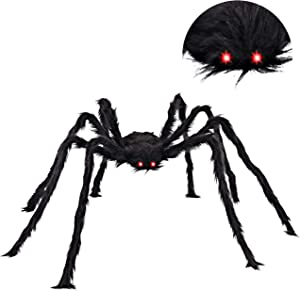 """JOYIN 63"""" LED Eyes Hairy Giant Spider for Halloween Indoor and Outdoor Decorations"""