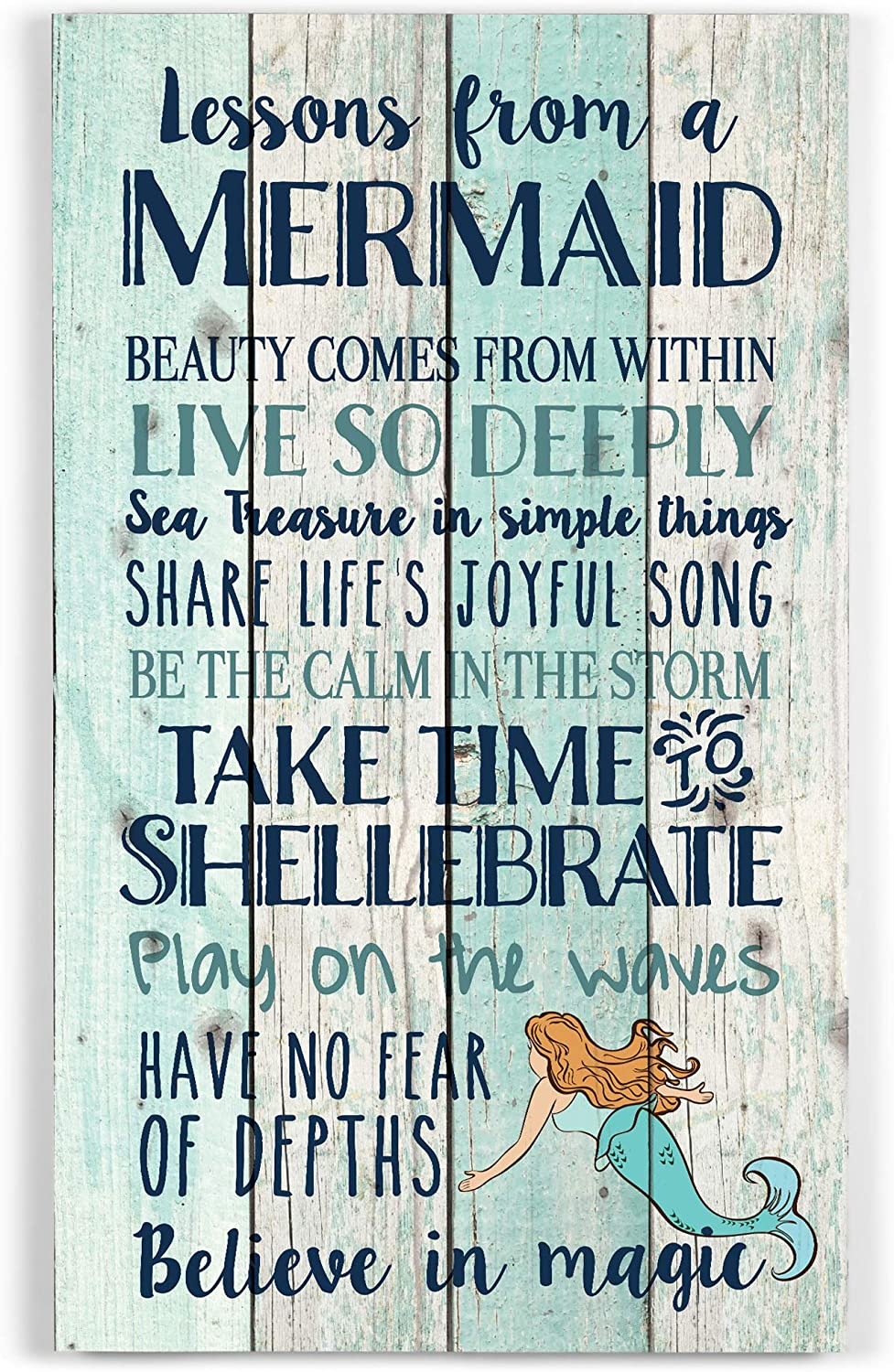 P. Graham Dunn Advice from a Mermaid Believe in Magic 24 x 14 Wood Pallet Wall Art Sign Plaque