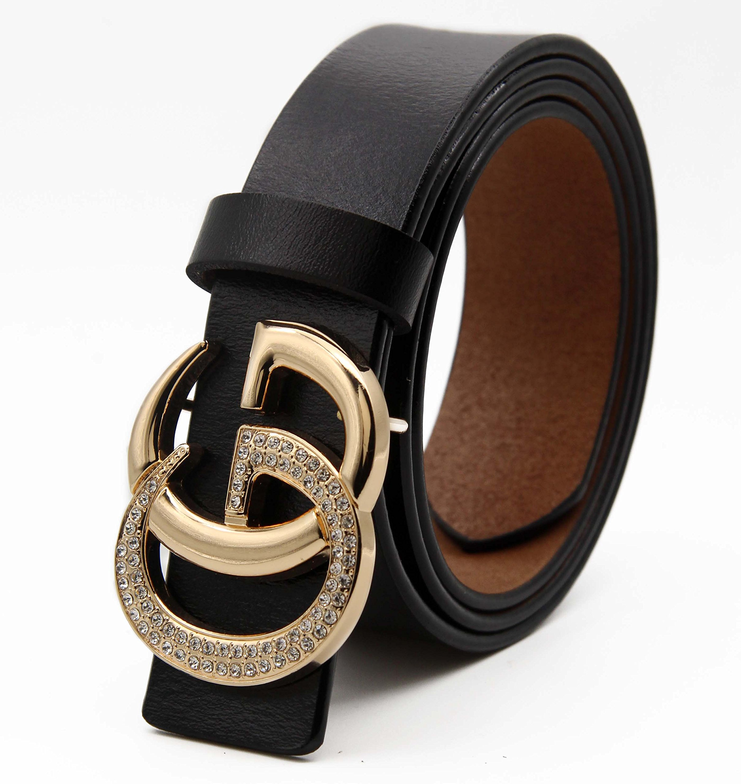 Women's Cowhide Leather Belt Gold Zircon Buckle for Pants Jeans Shorts Ladies Design Genuine Belts for GAGOTE (105cm/41.3'', pants size 26''-30'', Black) by GAGOTE (Image #3)