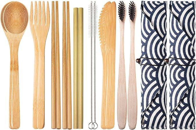 2 Set de Cubiertos de Bambú para Viaje y Acampada   Estuche, Tenedor, Cuchillo, Palillos, Cuchara, Paja, Cepillo de limpieza, Cepillo de dientes   ...