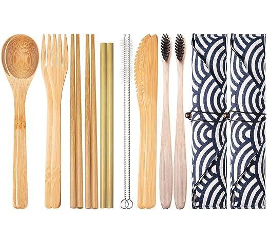 2 Set de Cubiertos de Bambú para Viaje y Acampada | Estuche, Tenedor, Cuchillo, Palillos, Cuchara, Paja, Cepillo de limpieza, Cepillo de dientes | ...