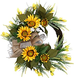 U'Artlines Artificial Sunflower Wreath Hanging Autumn Front Door Garland for Home Party Window Wall Decoration (20'' with Bowknot)