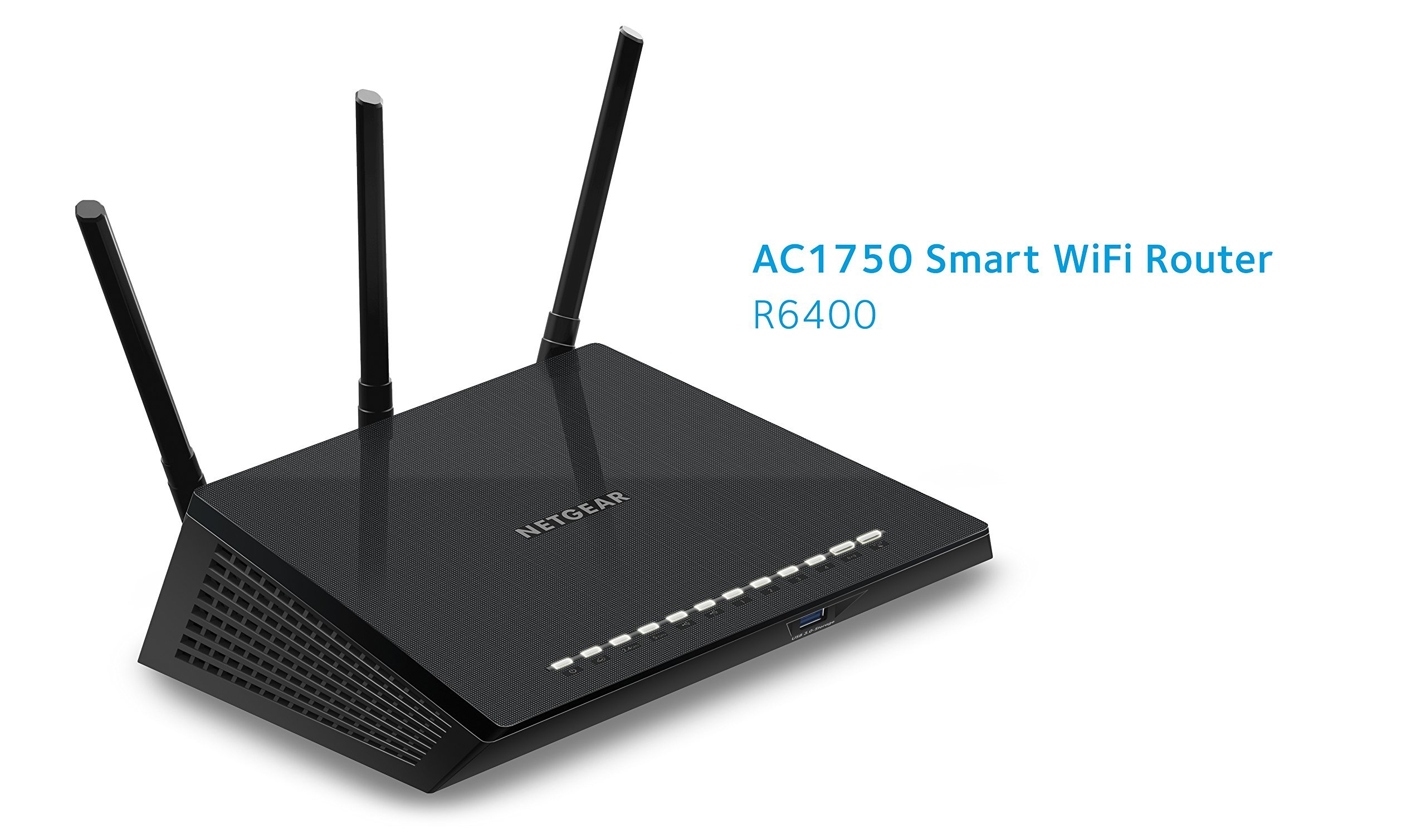 NETGEAR AC1750 Smart Wi-Fi Router, 802.11ac Dual Band Gigabit (R6400-100NAS) (Certified Refurbished) 2 AC1750 WiFi-450+1300 Mbps speeds and high-power external antennas Dual band-Reduces interference for better connections to more WiFi devices. Get up and running in minutes using your mobile device with the NETGEAR Up app.