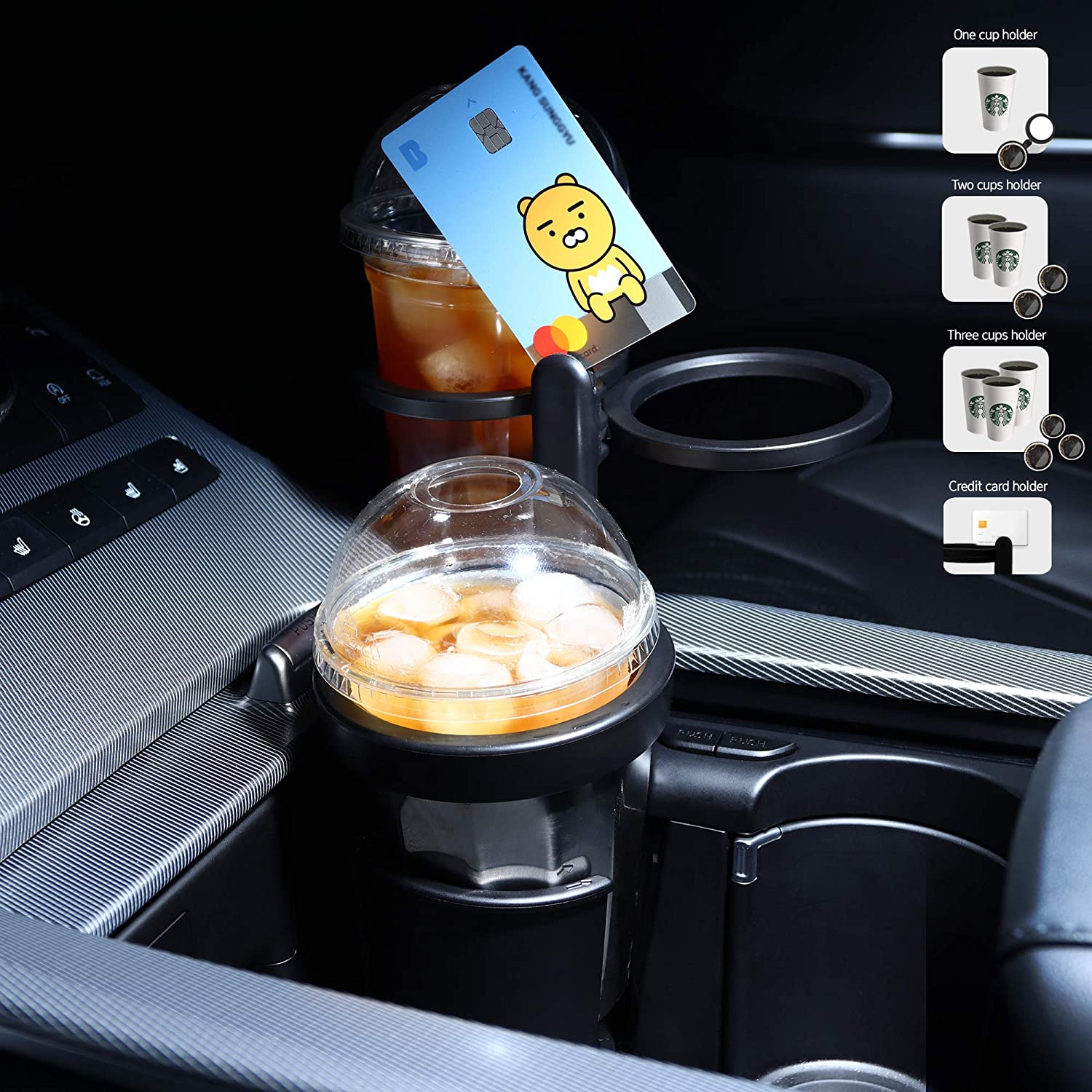 MAYTON Smart Multi Triple Car Cup Holder Warmer and Cooler Stainless Steel Universal Fit for Most Cars