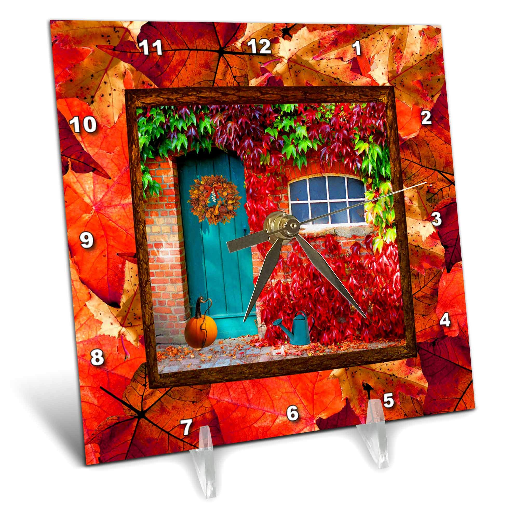 3dRose Beverly Turner Autumn Design - Aqua Door, Pumpkin, Watering Can, Window with Leaves, Autumn Colors - 6x6 Desk Clock (dc_290396_1)
