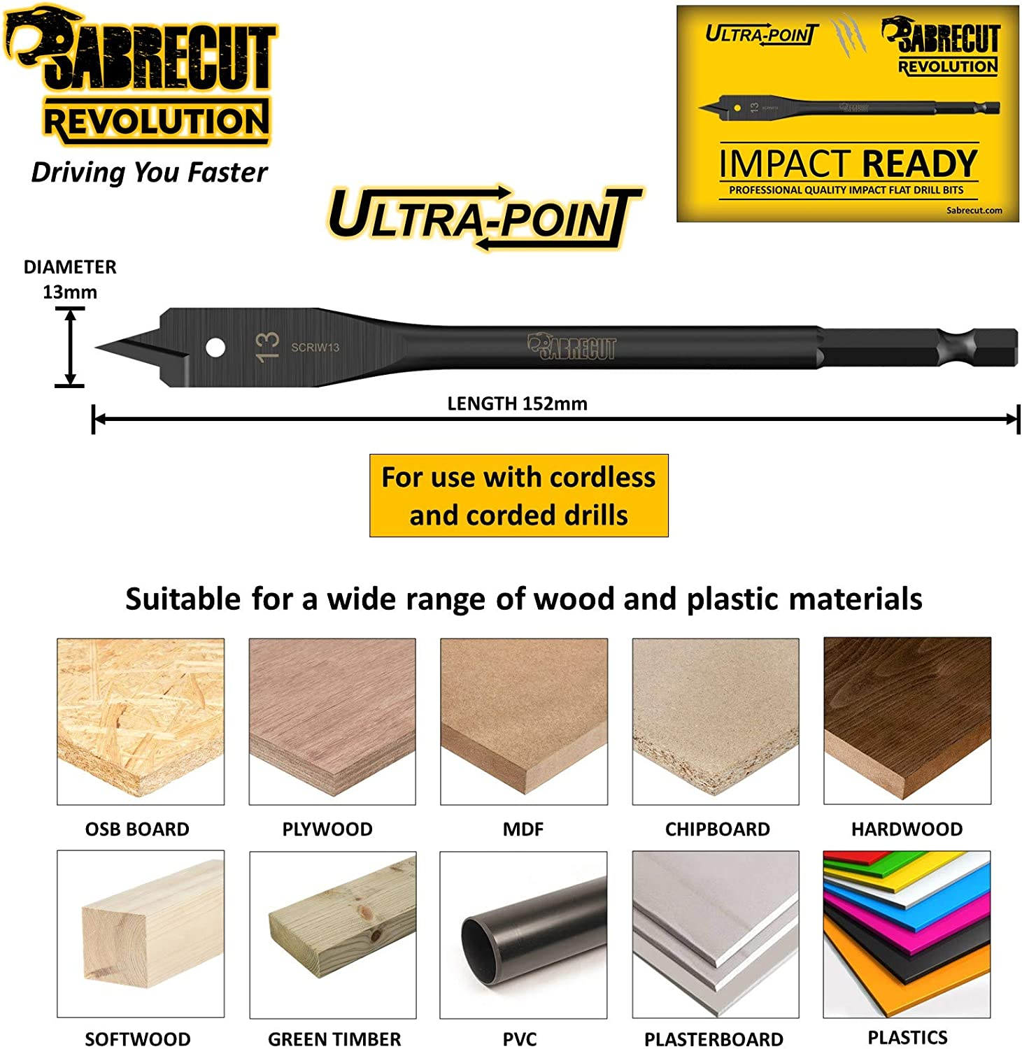 3 x SabreCut SCRIW13/_3 13mm x 152mm Impact Rated Flat Wood Spade Bits for Bosch Dewalt Makita Milwaukee and Many Others