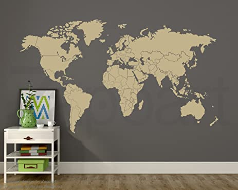 Amazon world map decal w countries borders z082 beige 60w x world map decal w countries borders z082 beige 60quotw x 35quot gumiabroncs Choice Image