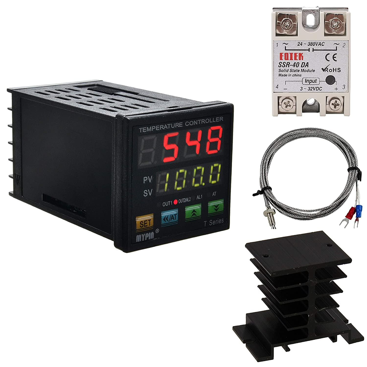 PID Temperature Controller Meter Indicator, Jaybva Digital Universal Thermostat C and Fahrenhe F Display SSR and Alarm Output 40A Solid State Relay and Thermocouple Probe Heat Sink Included