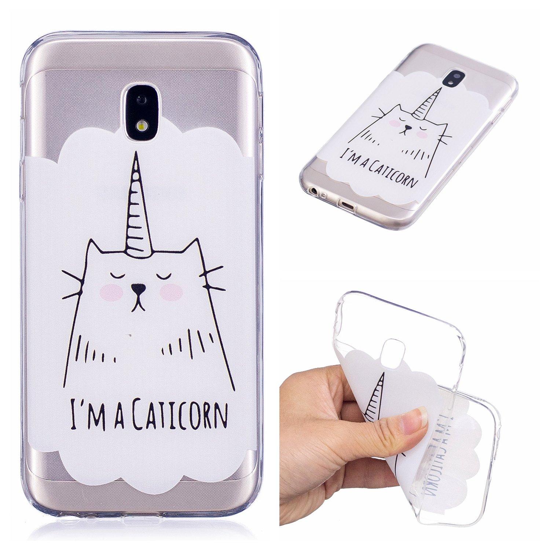 Qiaogle Teléfono Caso - Funda de TPU Silicona Carcasa Case Cover para Samsung Galaxy J7 (2017)/J730 (5.5 Pulgadas) - HX87/I'M A Caticorn