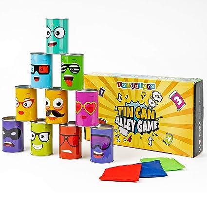 Juego Tumba las Latas - Incluye 10 latas decoradas y 3 bolsas de frijoles - Ideal para adultos y niños - Actividad en interiores y exteriores - Jardín ...