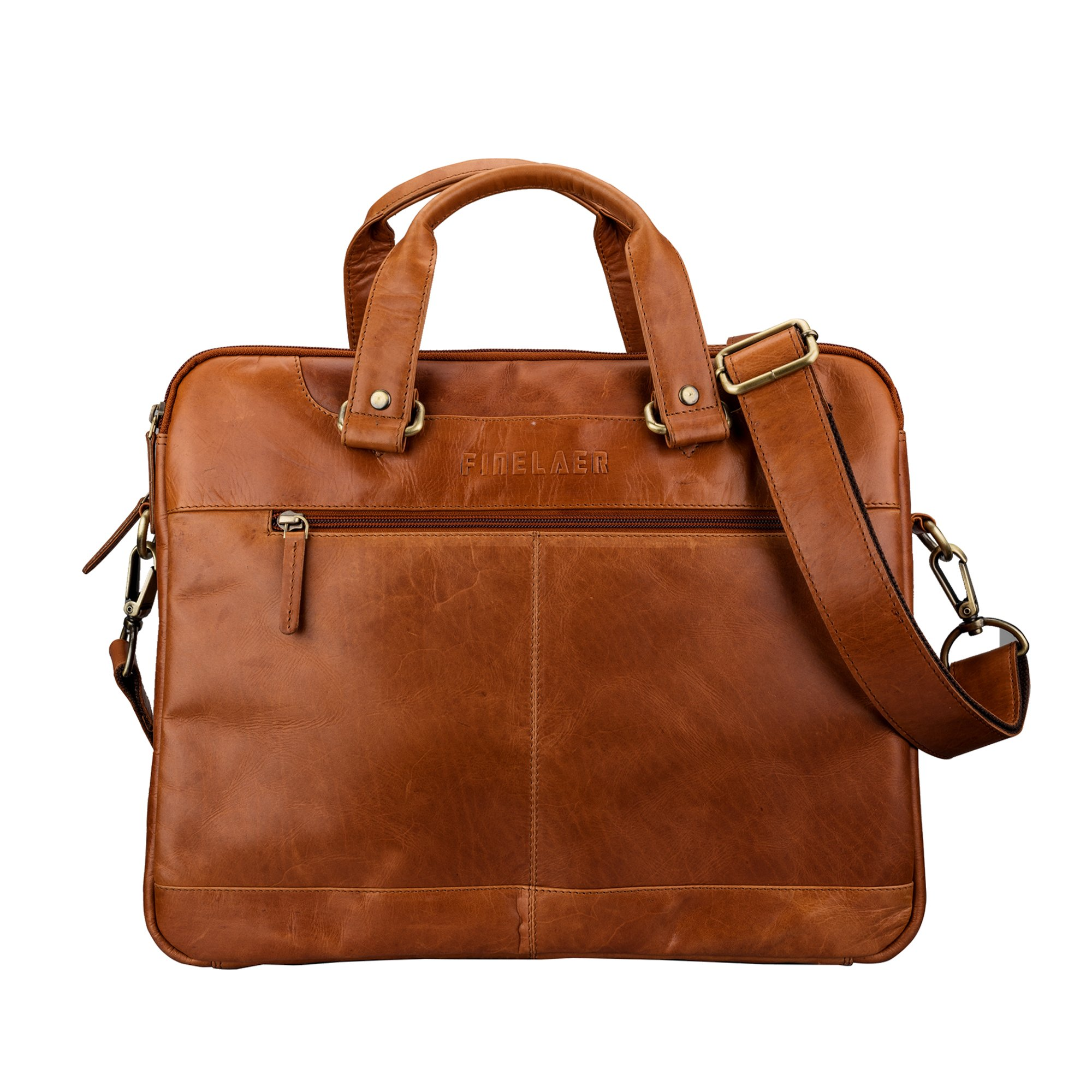 Finelaer Leather Laptop Computer Messenger Zipper Bag Brown with Trolley Sleeve for Men Women