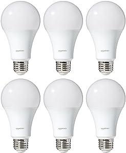 AmazonBasics 100 Watt Equivalent, Daylight, Dimmable, A21 LED Light Bulb | 6-Pack