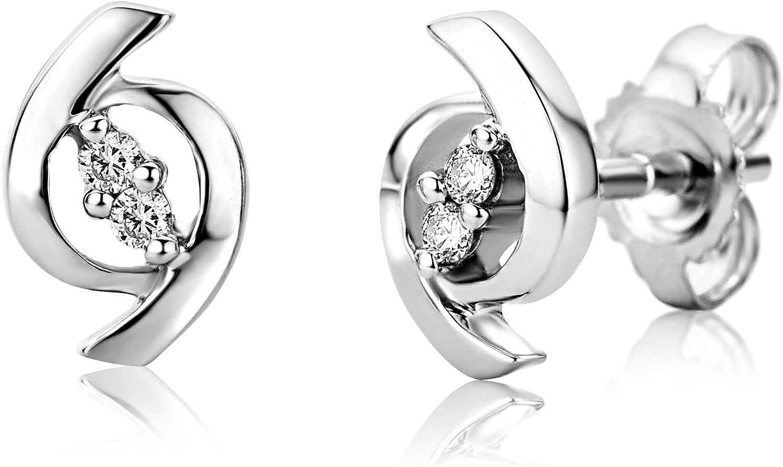 Miore - Pendientes de de oro blanco (9k) con 4 diamantes