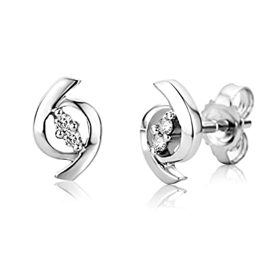 17845a63d71da Miore Earrings Women studs White Gold 9 Kt   375 Diamonds 0.04 ct   Amazon.co.uk  Jewellery