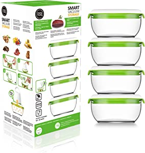 FOSA Vacuum Seal Food Storage System Reusable Small Containers, 4 Pack, 20 oz Size