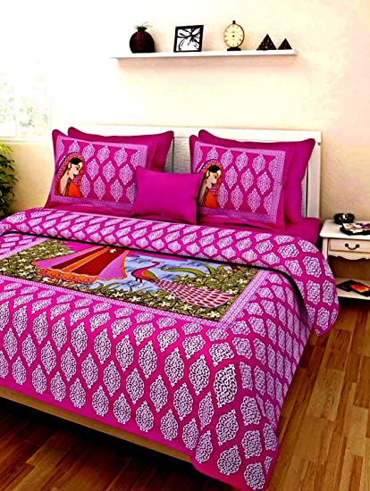 Jaipuri Chadaar 189 TC Soft Cotton Printed Double Bedsheet with 2 Pillow Covers, King Size (Multicolour)