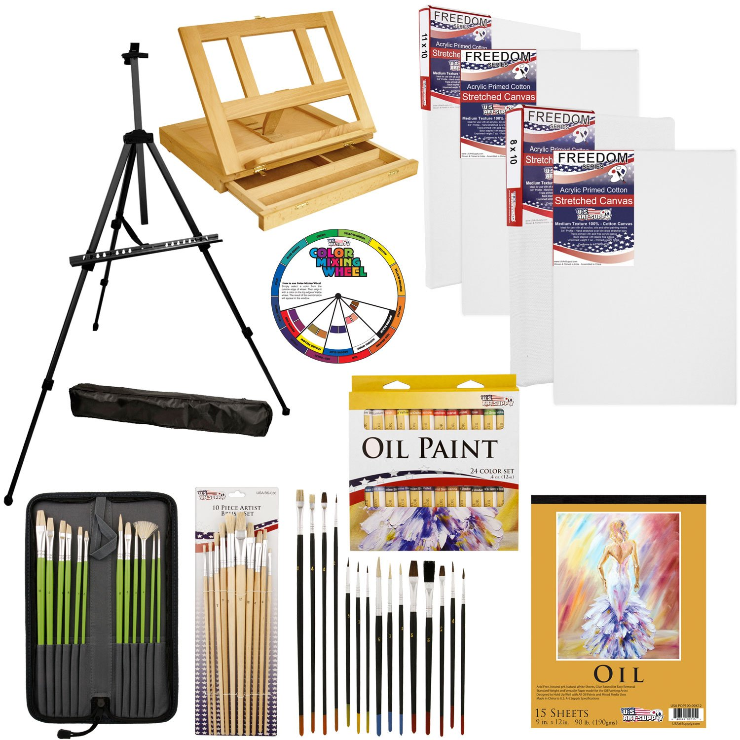 U.S. Art Supply 70-Piece Oil Painting Set with Aluminum Floor Easel, Wood Table Easel, 24 Oil Paint Colors, Oil Painting Pad, 8''x10'' Stretched Canvases, 11''x14'' Stretched Canvases, Artist Brushes