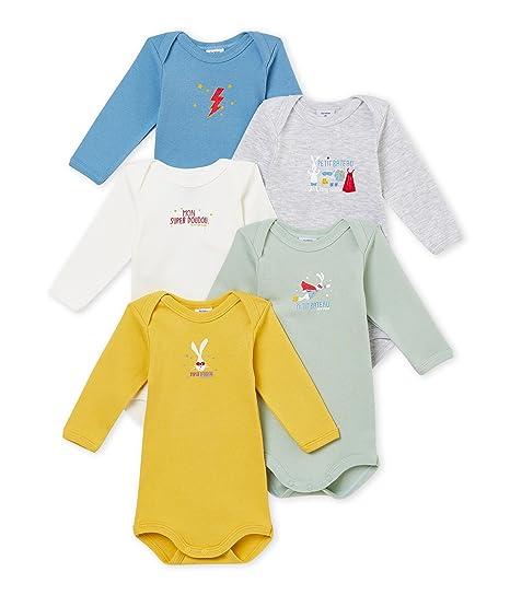 bcf4d8461 Petit Bateau SF Bodies Us ML Body (Lot de 5 Bébé garçon: Amazon.fr:  Vêtements et accessoires