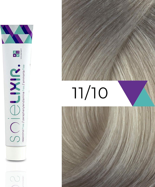 Soielixir Tinte Permanente para Cabello en crema SIN Resorcinol, parafenilendiamina y amoniaco - 93 colores - 100 ml - 11/10 Rubio Super Platino ...
