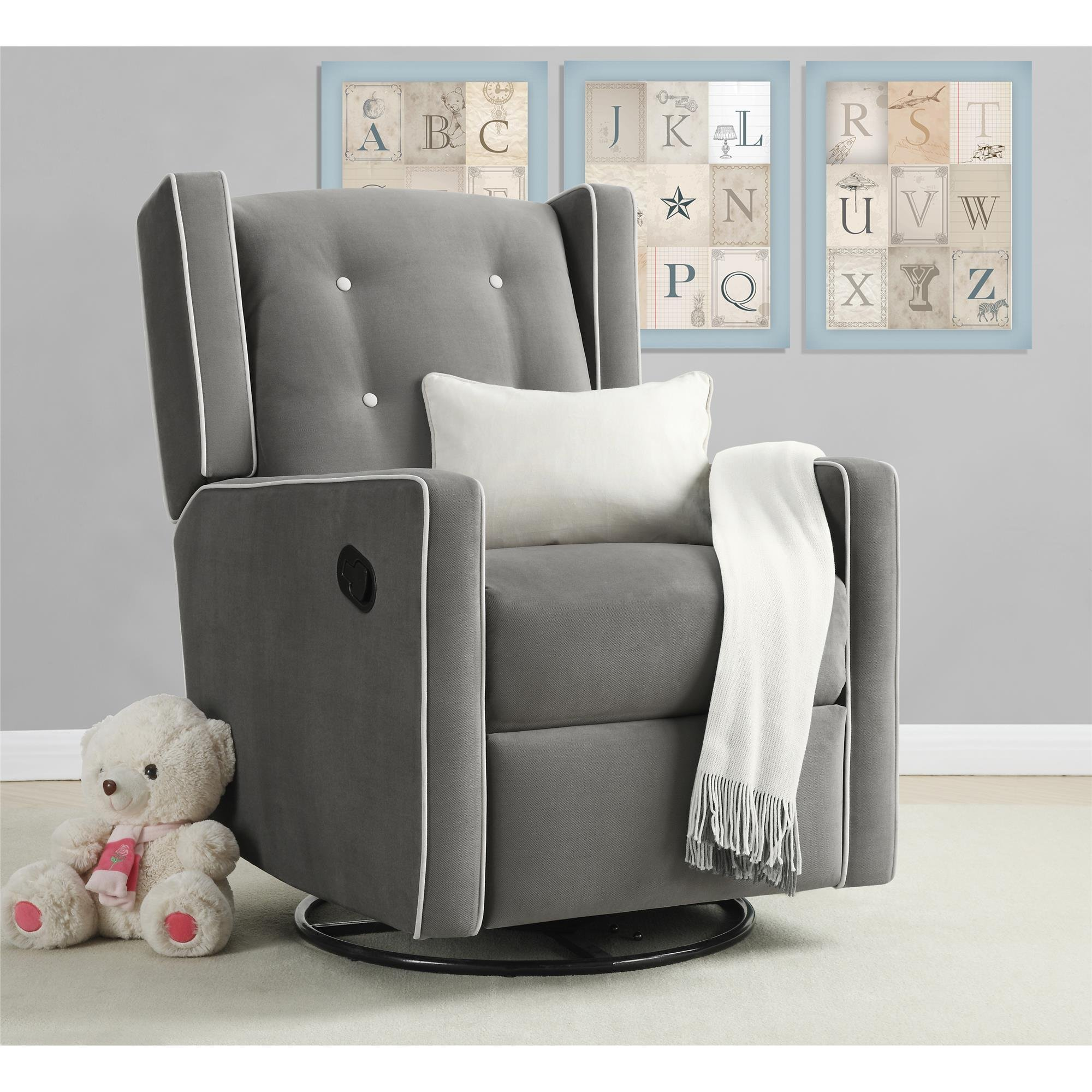Baby Relax Mikayla Swivel Gliding Recliner, Gray Microfiber by Baby Relax (Image #2)