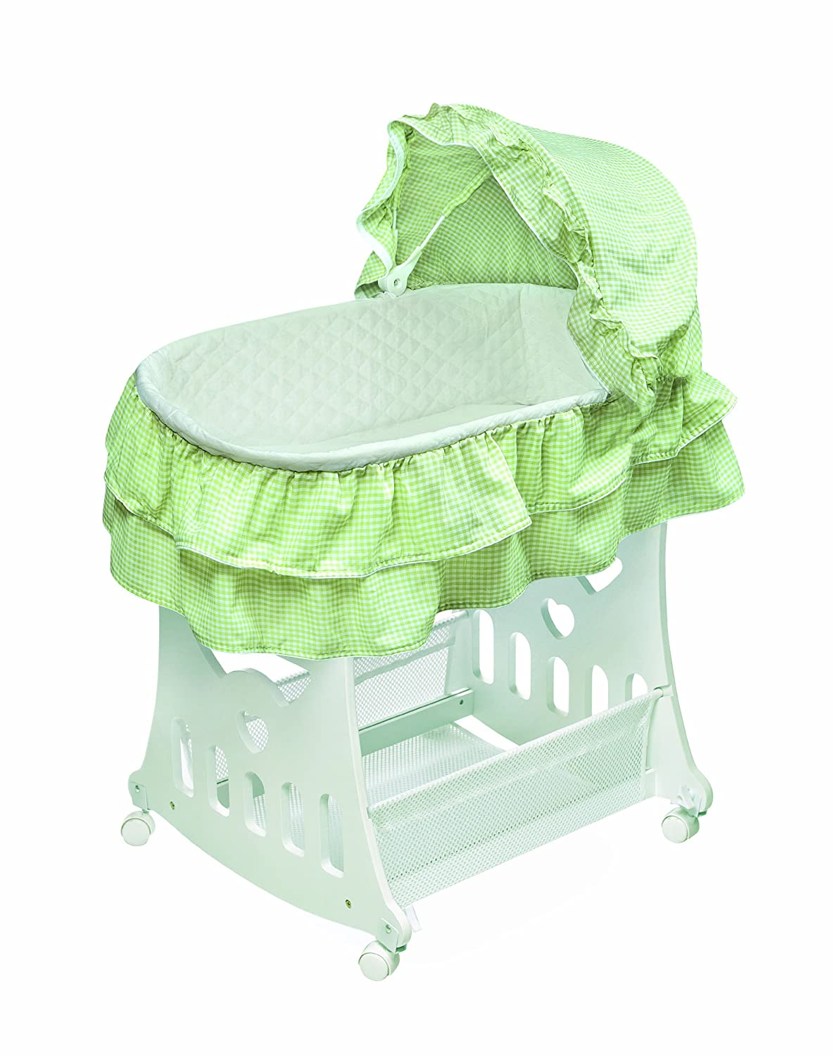 and Pad Short Skirt Portable Rocking Baby Bassinet with Toybox Base