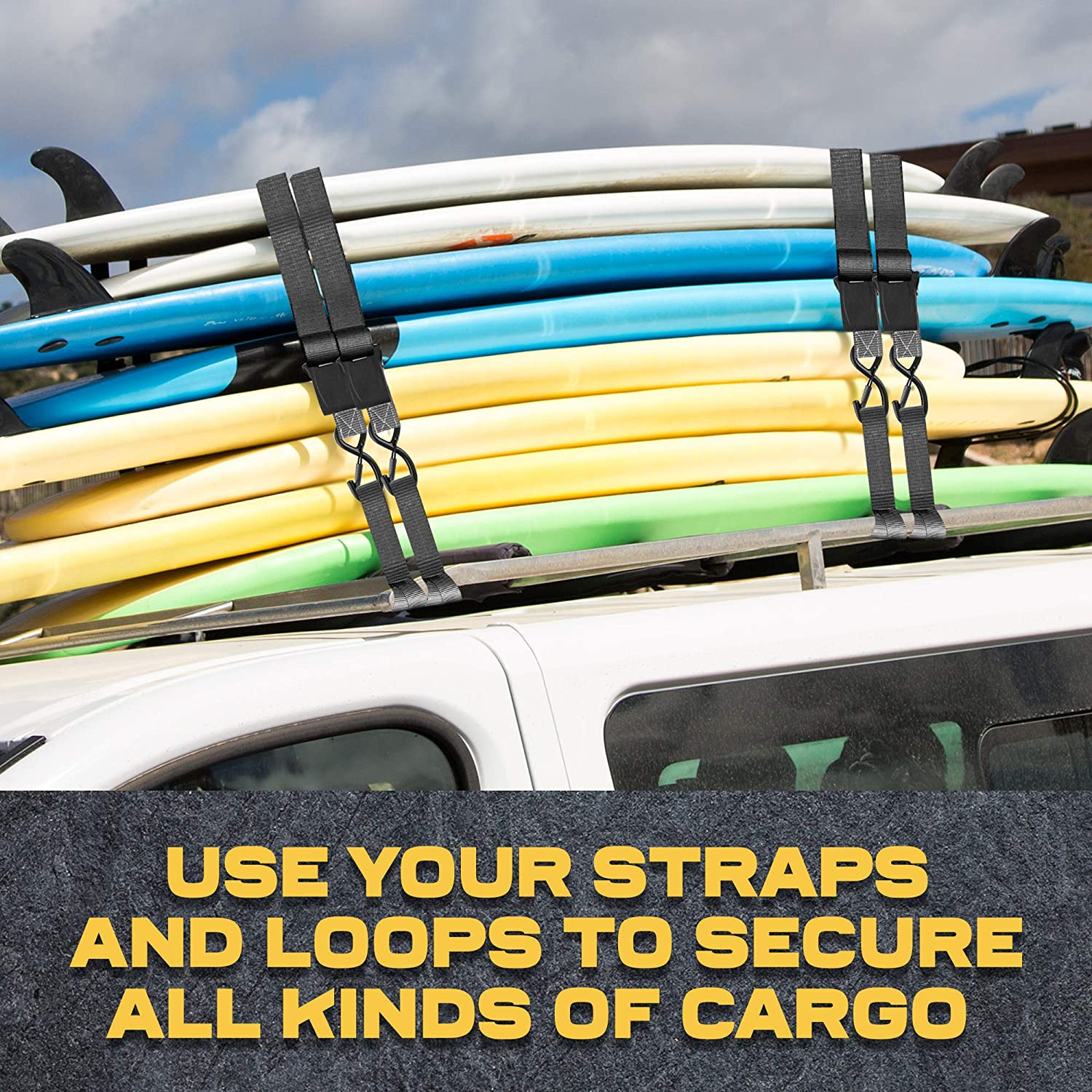 """Surfboards 1700Lb Break Strength for Furniture 4 Etc. Pack of TVs Soft Loop Tie Downs 1/"""" by 15/' Ratchet Straps w//S-Hook Safety Latches /& AUGO Extra Strong Ratchet Straps /& Soft Loops 4"""
