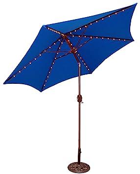 TropiShade TropiLight con LED iluminado 9 ft aluminio bronce mercado paraguas con cubierta de poliéster verde