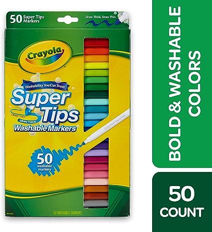 Crayola 50 Ct Super Tips Multi 50pièces Marqueurs à Peinture Multi Vert Jaune 50 Couleurs Garçonfille 50 Pièces Boîte