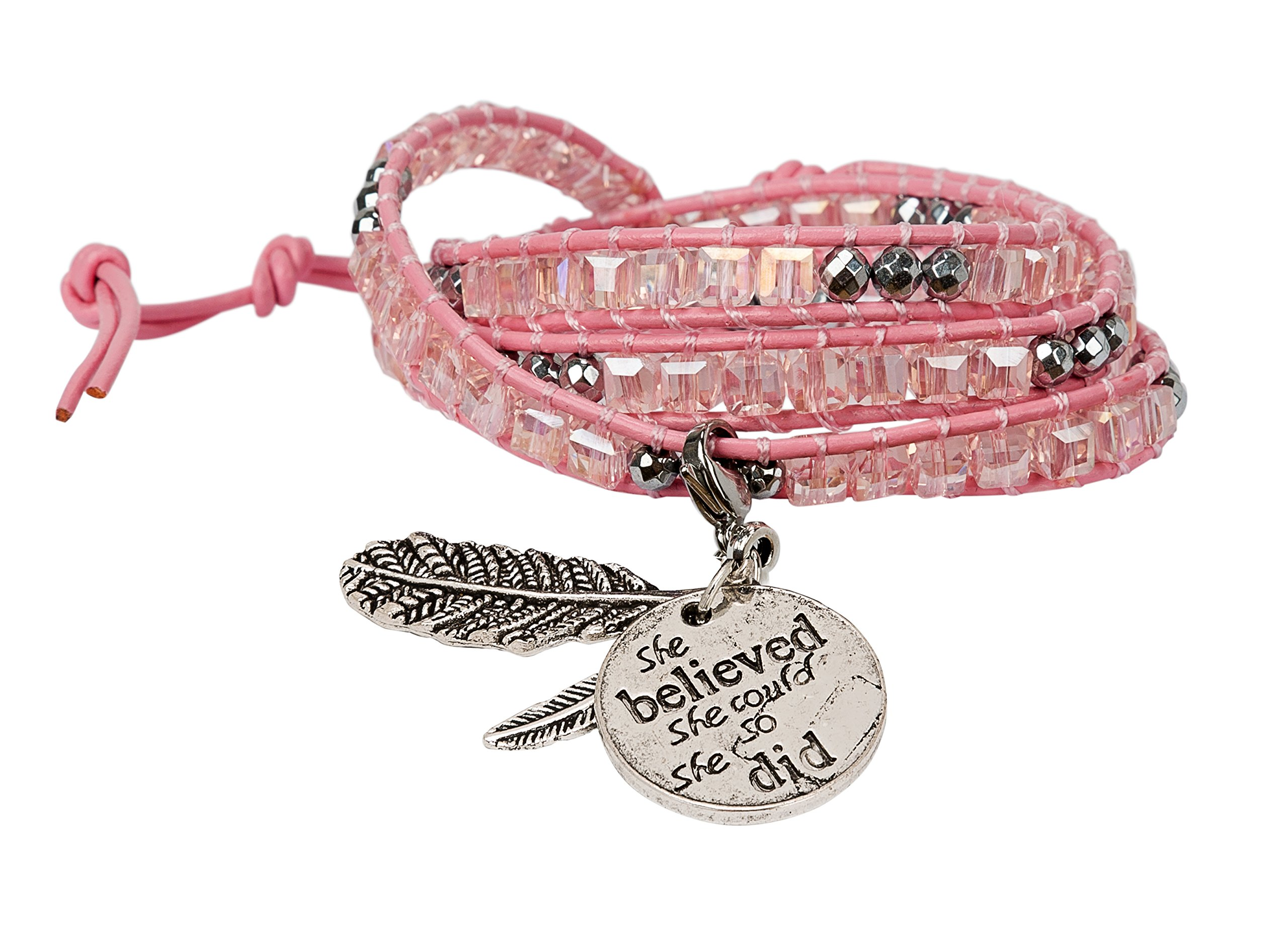 SPUNKYsoul She Believed She Could So She Did Bracelet Pink 3 Wrap Set Boho Chic Tribal collection (Pink)