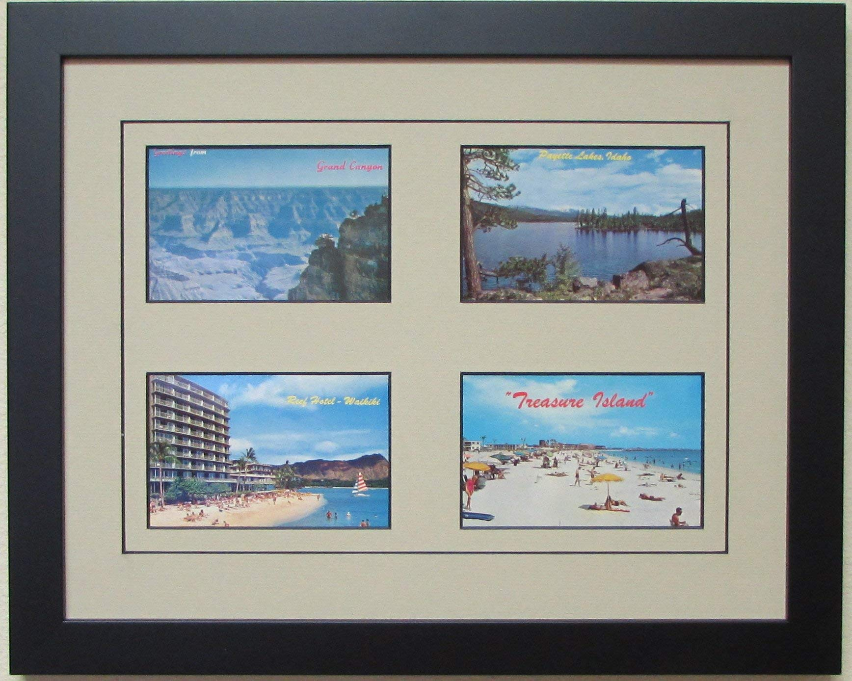Postcard Frame for 4 Postcards with Tan Mat (Black Frame)