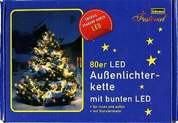 Idena LED Lichterkette 80er bunt 16 m für innen//außen ca buntes Licht