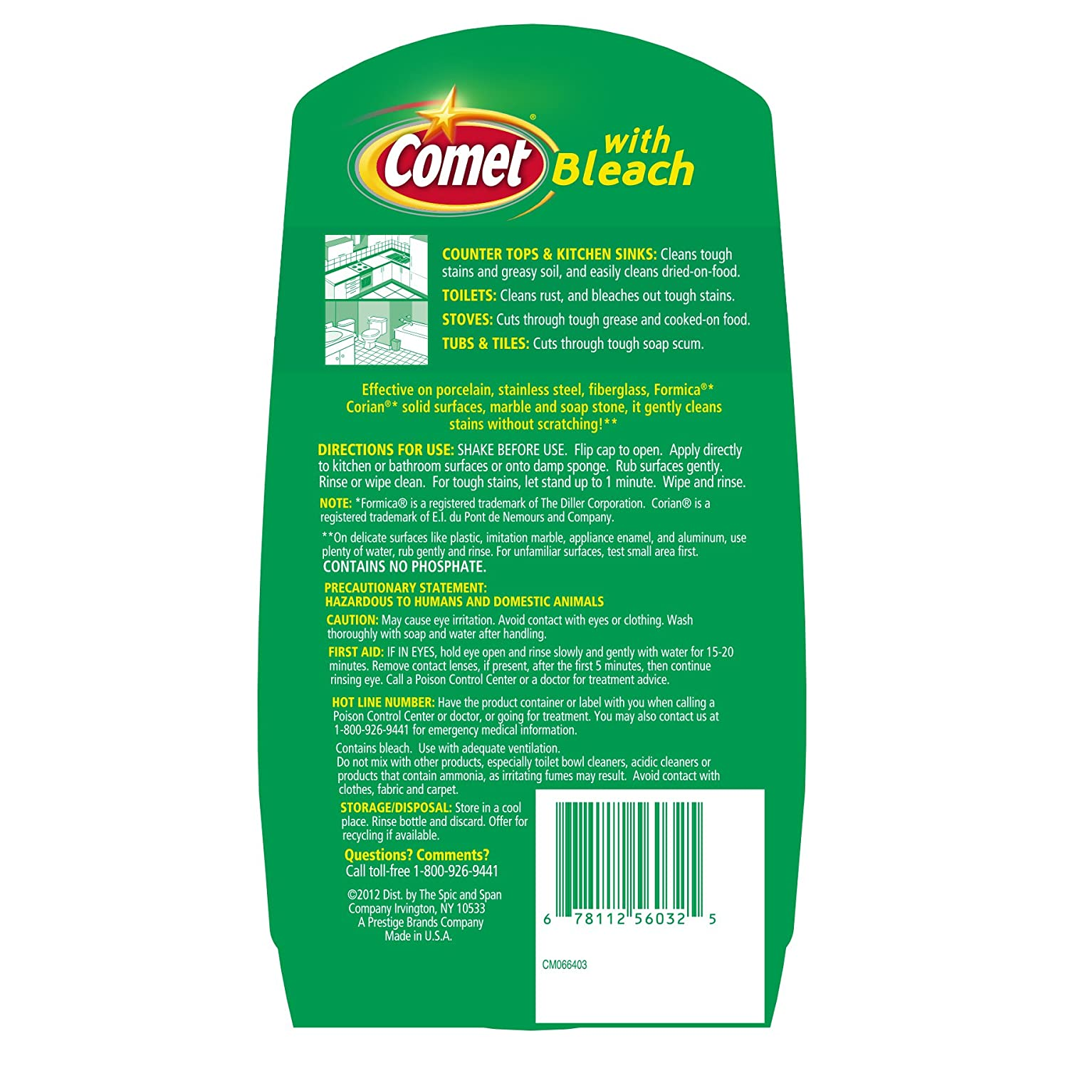 Amazon com  Comet Bath Cleaner Spray  32 Ounce  Health   Personal Care. Bathroom Cleaner Without Bleach. Home Design Ideas