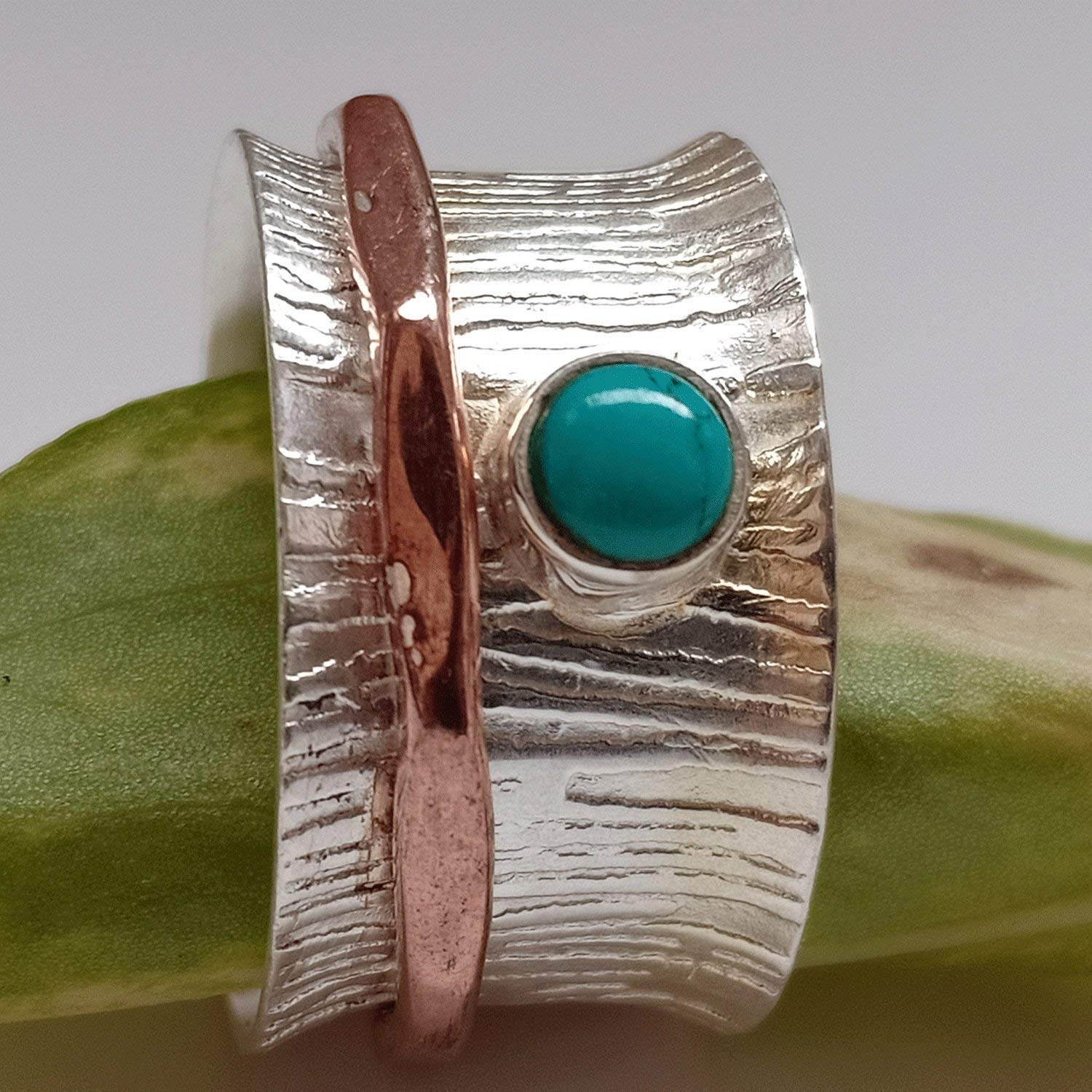 Turquoise Spinner Ring, Silver Ring Spinning Band Ring, Turquoise ...