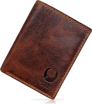 GENTLEMAN MEN WALLET SLIM BIFOLD FLAT CREDIT CARD HOLDER LEATHER BROWN COLOR