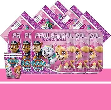 PAW PATROL Rosa Niña Completo Pack de Fiesta - 16 Invitados ...
