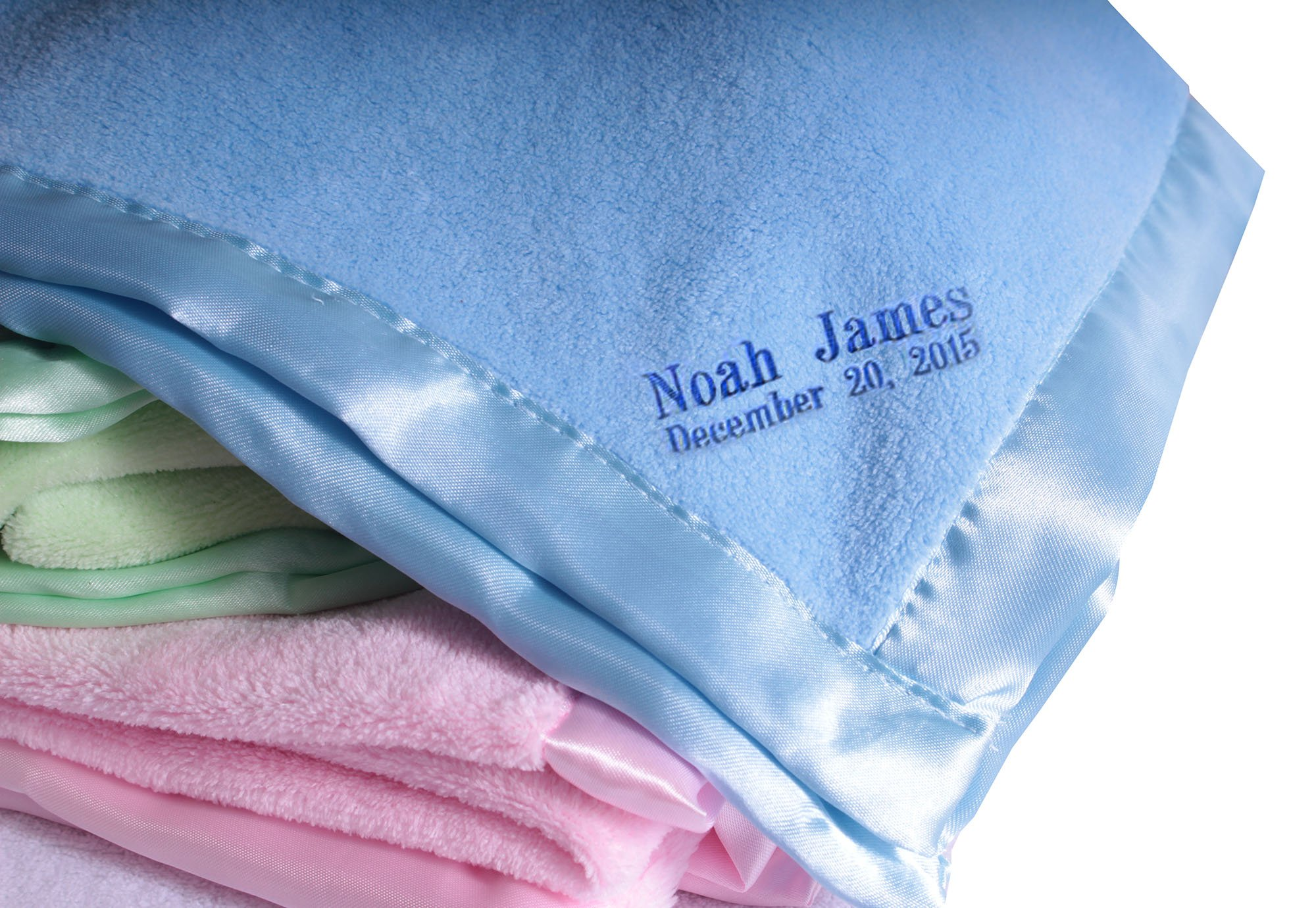 Personalized Customized Baby Blanket Wide Satin Trim Light Blue