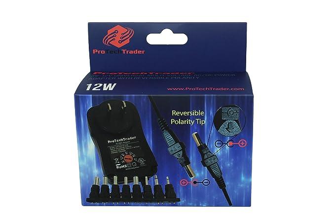 3vdc -12 volt Universal AC/DC Power Adapter USB Port | 8 Reversible Polarity Positive or Negative Tips Center Tip 3v 4.5v 5v 6v 7.5v 9v 12v 1a 12w ...