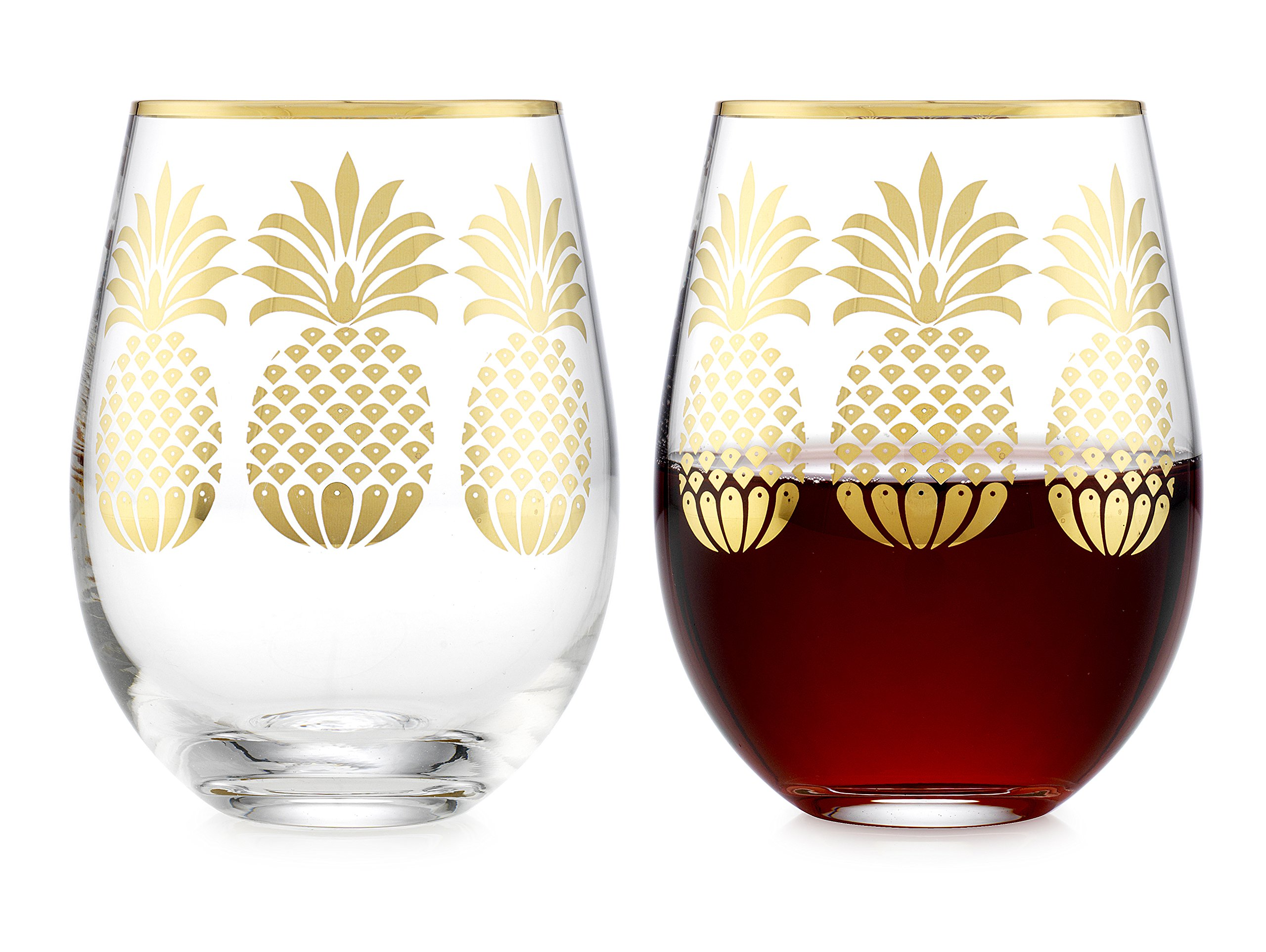 Elegant Home Personalized Gift Set of Two 19 Oz. Stemless Wine Glass - unique Novelty - Gag Gift. (Pineapple Gold)