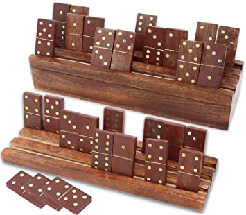 Dominoes Set Double Six Professional With Domino Racks Trays Or Holders Handmade Mango Wood In Antique Finish 28 Domino Tiles With Wooden Case By